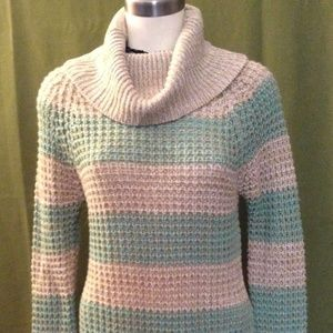 Loose Knit Cowl Neck Striped Sweater Size Large